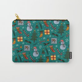 Christmas Holiday Teal Carry-All Pouch