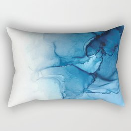 Blue Tides - Alcohol Ink Painting Rectangular Pillow