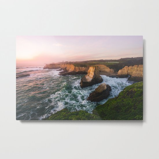 Golden California Coastline - Santa Cruz, California Metal Print