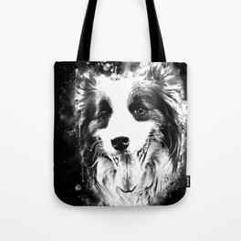 border collie shepherd dog splatter watercolor white Tote Bag