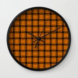 Dark Orange Weave Wall Clock