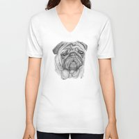 pug V-neck T-shirts featuring Pug by Lene Daugaard