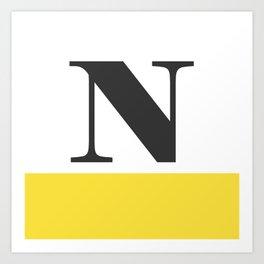Monogram Letter N-Pantone-Buttercup Art Print