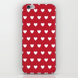Polka Dot Hearts - red and white iPhone Skin