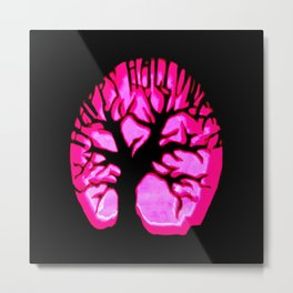 Happy halloweeN Brain Tree Hot Pink Metal Print