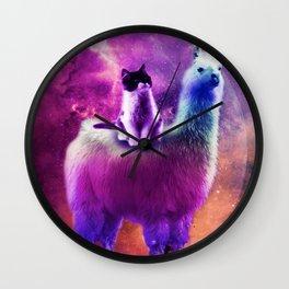 Kitty Cat Riding On Rainbow Llama In Space Wall Clock