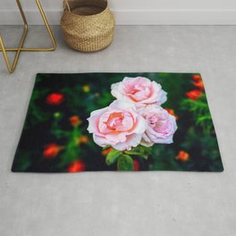 Three Pink Rose Blossoms Rug