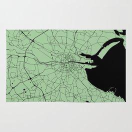 Dublin Ireland Green on Black Street Map Rug