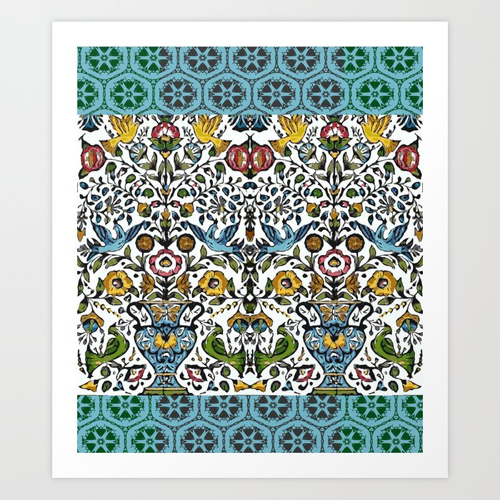 flower and birds in Persian blue mosaic Kunstdrucke