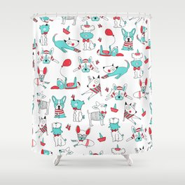 One dog and his friends Shower Curtain
