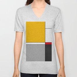 Mid century Modern yellow gray black red Unisex V-Neck