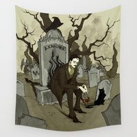 edgar allan poe Wall Tapestries featuring Edgar Allan Poe by Abigail Larson