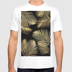 Gold Palm Leaves on Black MEDIUM White Mens Fitted Tee