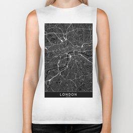 London Black Map Biker Tank