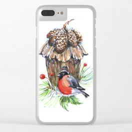 Bullfinch in the background of a cozy bird house. Clear iPhone Case