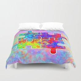 Autism Colorful Puzzle Pieces Duvet Cover
