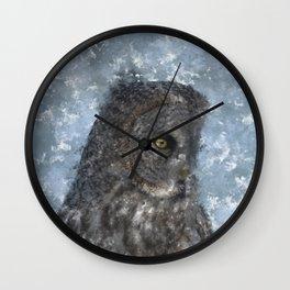 Contemplation - Great Grey Owl Portrait Wall Clock