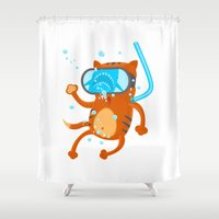 diver Shower Curtains featuring Cat Diver by Bakal Evgeny