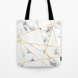 Stone Effects White and Gray Marble with Gold Accents Tote Bag