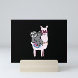 Sloth Llama Music Mini Art Print
