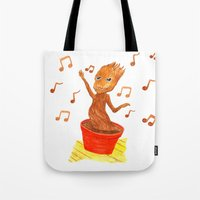 groot Tote Bags featuring Baby Groot by gunberk