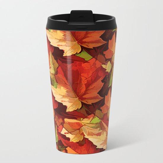 Autumn Leaves Abstract - Painterly Metal Travel Mug