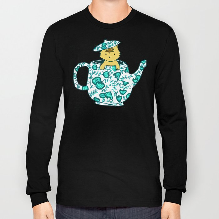 Dinnerware sets - Kitten in a teapot Long Sleeve T-shirt
