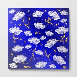white blossom in blue and gold Digital pattern with circles and fractals artfully colored design Metal Print