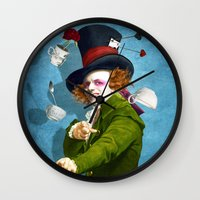 mad hatter Wall Clocks featuring Mad Hatter by Diogo Verissimo