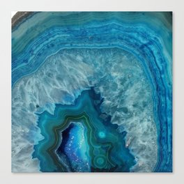 Blue agate marble faux druse crystal quartz gem gemstone geode mineral stone photograph hipster Canvas Print