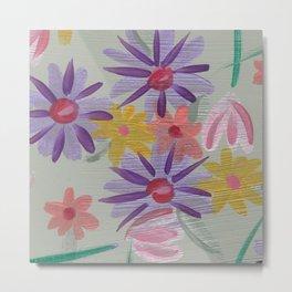 Rain Flowers Metal Print