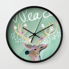 Peace - Holiday starry deer Wall Clock