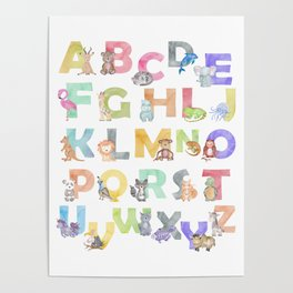 Watercolor Alphabet Animals Poster