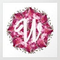 W Floral  Art Print