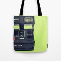 polaroid Tote Bags featuring Polaroid by Brieana