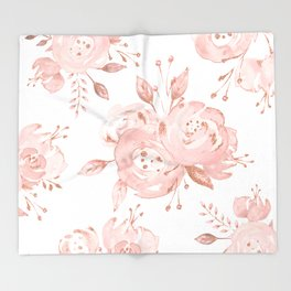 Roses Rose Gold Glitter Pink by Nature Magick Throw Blanket