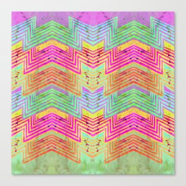Zig Zag Pattern Playtime | Watercolor Art Print | Hot Pink Canvas Print