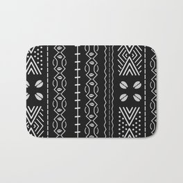 Black mudcloth with shells Bath Mat