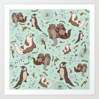 otters Art Prints featuring Sea Otters by Nemki