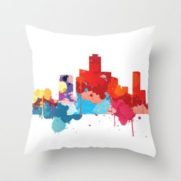 Seoul Cityscape Watercolor Throw Pillow