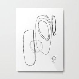 "Minimalist Geometric Abstract Line Drawing - Mid Century Modern - ""Three and Three"" Metal Print"