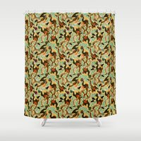 swimming Shower Curtains featuring Swimming by Boiling Point Press