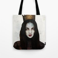 queen Tote Bags featuring Queen by Feline Zegers