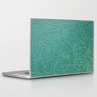 leather Laptop & iPad Skins featuring teal leather by Sylvia Cook Photography
