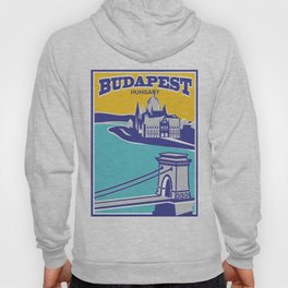 Budapest vintage poster, Chain Bridge Hoody