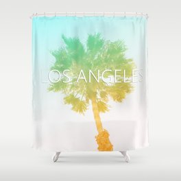 Retro Vintage Ombre Los Angeles, Southern California Palm Tree Colored Print Shower Curtain