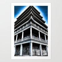 Pagoda In Blue Art Print