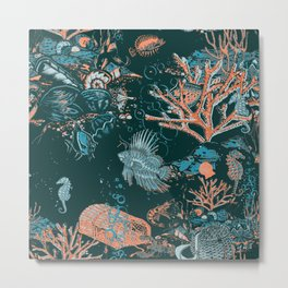 Coral Aqua Life Metal Print