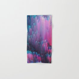 Bold Pink and Blue Glitches Hand & Bath Towel