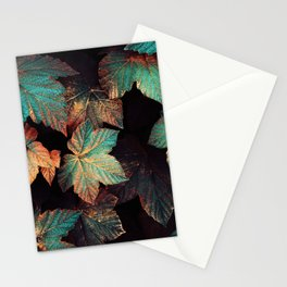 Copper And Teal Leaves Stationery Cards